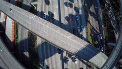 Aerial Overhead shot of interstate freeway traffic Stock Footage