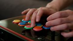 Professional Fighting Game player using an arcade joystick to practice. Stock Footage
