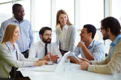 Meeting of chief and managers Stock Photos