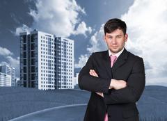 Stock Illustration of Businessman outdoors