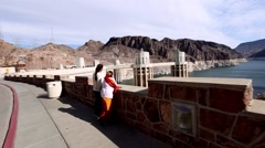 Hoover Dam Spillways walking tourists lake mead intake towers Stock Footage