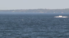 Various boats out on the lake in choppy waters on windy day - stock footage