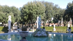 The statue and fountain in the Villa Borghese gardens, Rome, Italy - stock footage