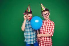 Goofy twins - stock photo