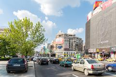 Rush Hour In Bucharest Union Square Stock Photos