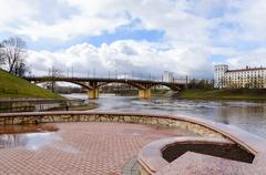 View of embankment of Zapadnaya Dvina in spring, Vitebsk, Belarus Stock Photos
