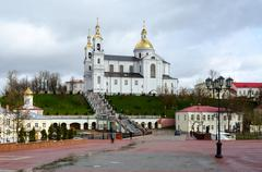 Holy Dormition Cathedral and the Holy Spirit female monastery, Vitebsk - stock photo