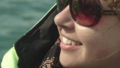 Young Woman Smiles While Boating ICELAND Stock Footage