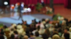 Crowd Of People To Sitting And Listening  In A Large Hall Stock Footage