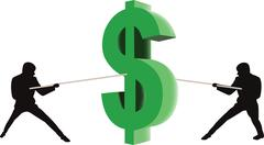 Figures mannequins rivals vie symbol dollar - stock illustration