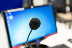 Microphone at recording studio or radio station Stock Photos