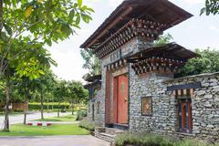 the design of bhutan gateway - stock photo