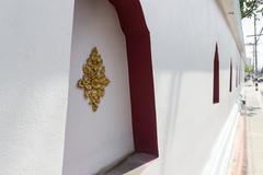 The art of handmade asian golden sculpture tracery Stock Photos