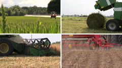 Field spray. Grass bales. Harvesting. Fertilize. Clips collage Stock Footage