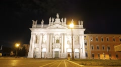 Basilica di San Giovanni in Laterano. Night. Rome, Italy Stock Footage