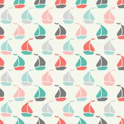 Stock Illustration of Sailboat shape seamless pattern. Vector illustration for marine design