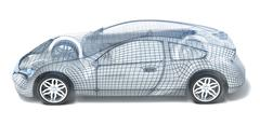 Sport Car Wireframe. Left view. My own design Stock Illustration