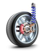 Wheel, shock absorber and brake pads Stock Illustration