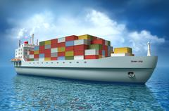 Cargo ship sails across the Ocean. My own design. My own design Stock Illustration