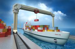Crane lifting cargo container and loading the ship. My Own Design - stock illustration