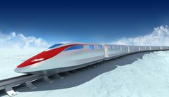 Train of the future with clouds on the background. My own design Stock Illustration
