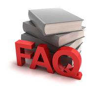 Icon of FAQ with books behind - stock illustration