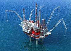 Sea Oil Rig Drilling Structure Piirros
