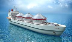 Oil Tanker ship sails across the Ocean. My own ship design. Stock Illustration