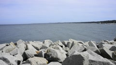 Baltic Sea in Poland, beach of Ustka and seaport Stock Footage