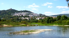 View of Jimena de la Frontera and its castle from the river, Cadiz, Spain (4K) - stock footage