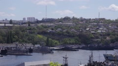 Panorama of Sevastopol Bay with Russian warships - stock footage