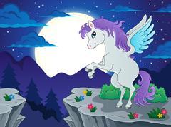 Night scenery with pegasus - eps10 vector illustration. Stock Illustration