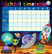 School timetable space fantasy theme - eps10 vector illustration. Stock Illustration