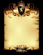 ornate heraldic frame - stock illustration