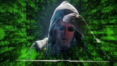 Internet hacker binary code fly zoom out 4k UHD 11631 Stock Footage