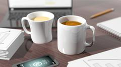 Two cups of coffee on desktop with office objects - stock illustration