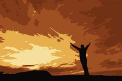 Worship and Praise in the morning. Stock Illustration