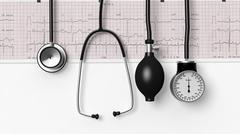 Stethoscope,sphygmomanometer and cardiogram  isolated on white - stock illustration
