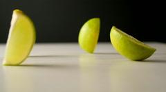 Lemon falling apart. Stock Footage
