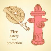 Sketch hose and hydrant in vintage style - stock illustration
