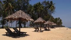 Beach huts at Penarik beach, Terengganu, Malaysia Stock Footage