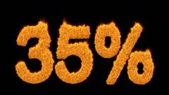 35 percent in flaming orange numerals Stock Footage