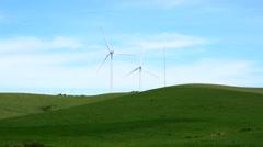 Wind turbine in the field, power generation wind farm (4K) Stock Footage