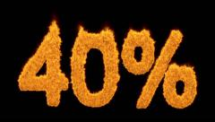 40 percent in fiery flaming orange numerals Stock Footage
