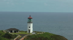 Kilauea lighthouse at Kauai peninsula hawaii medium shot Stock Footage