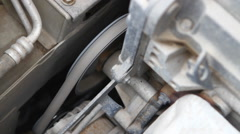 Alternator belt closeup, rotation Stock Footage