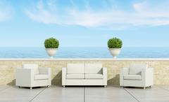 Terrace with white sofa and armchairs Stock Illustration
