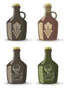 Vector set of bottles for wine or rum - stock illustration