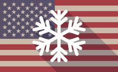 USA flag icon with a snow flake - stock illustration
