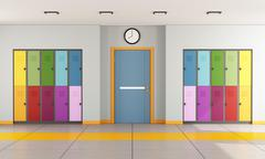 School hallway with student lockers - stock illustration